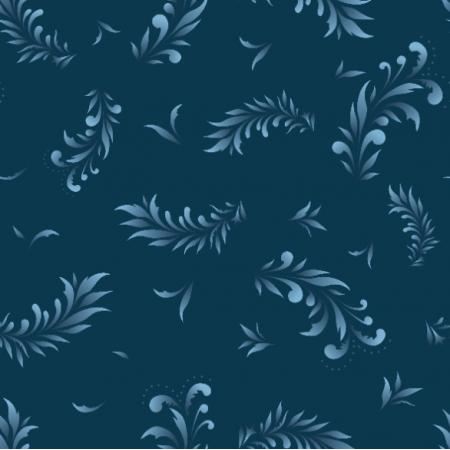 Fabric 22447 | Liście niebieski