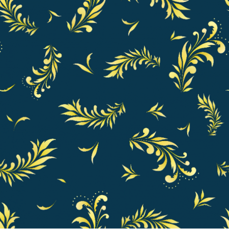 Tkanina 22448 | Liście niebieski żółty