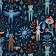 Tkanina 22551   Ritual midsummer forest animals. owl, goat, cat, frog, bunny, raccoon, fox.
