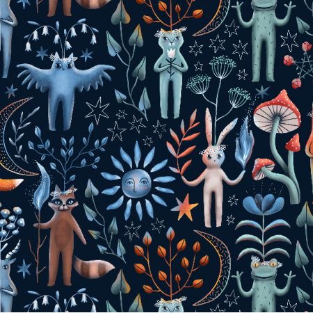 Fabric 22551 | Ritual midsummer forest animals. owl, goat, cat, frog, bunny, raccoon, fox.
