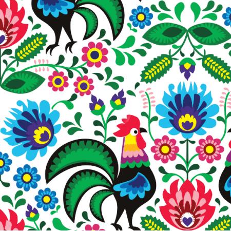 Fabric 22679 | wzór łowicki na białym tle