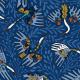 Tkanina 22699 | Siberian crane birds and flowers