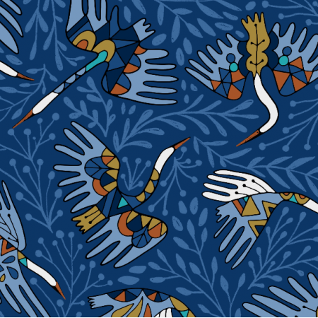 Fabric 22699 | Siberian crane birds and flowers