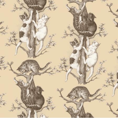 Fabric 22782 | KOTY NA DRZEWIE - Kawa z mlekiem