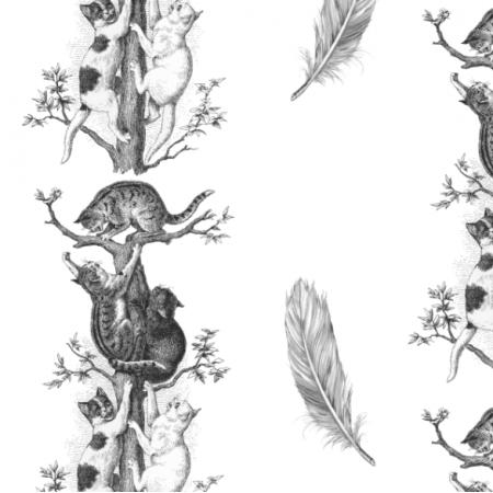 Fabric 22788 | KOTY I PIÓRKA  - Czarno białe