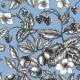Tkanina 22800   Graphic Berries Faded Denim