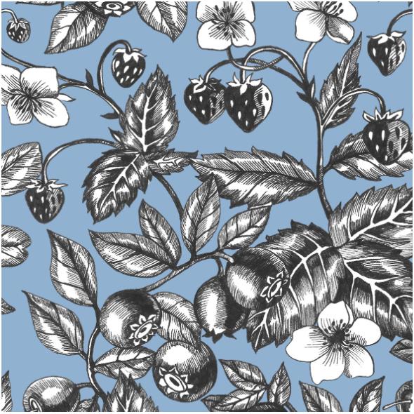 Tkanina 22800 | Graphic Berries Faded Denim