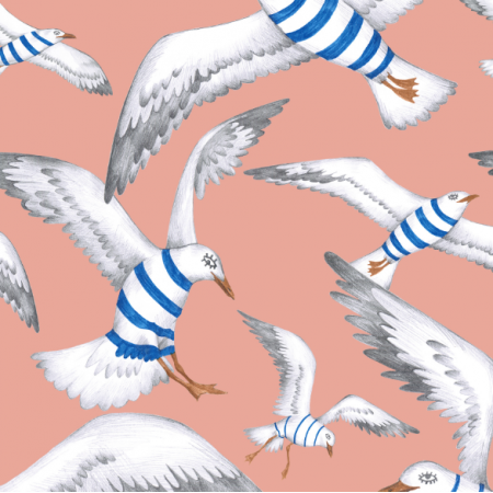 Tkanina 22803 | Seagulls coral pink111