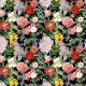 Fabric 22897 | BUJNE KWIATY  -  CZARNE TŁO