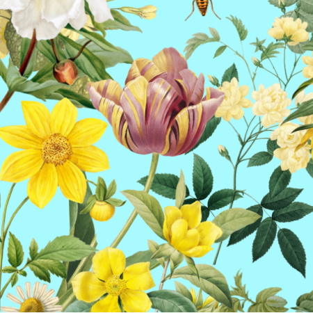 22914 | Żółte Kwiaty Na AQUA CYAn BLUE  0