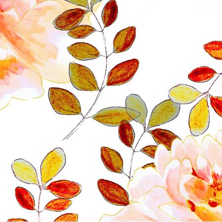 Fabric 22989 | Romantyczny kwiatowy wzór z bursztynowymi liśćmi
