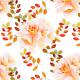 Tkanina 22989   Romantyczny kwiatowy wzór z bursztynowymi liśćmi
