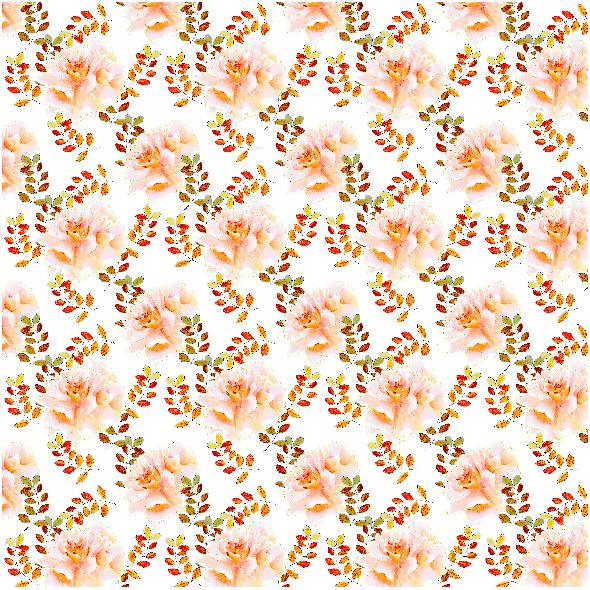 Tkanina 22989 | Romantyczny kwiatowy wzór z bursztynowymi liśćmi