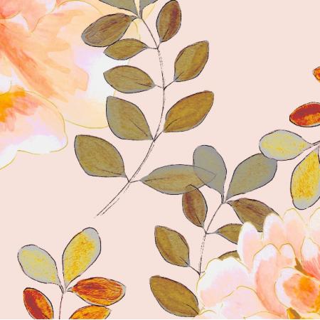Fabric 22990 | Romantyczny wzór w kolorach pastelowych