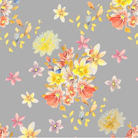 Tkanina 22991 | Kompozycja kwiatowa  jak  z dawnych lat