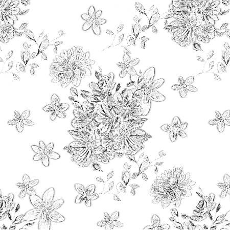 Tkanina 22994 | Kompozycja kwiatów w odcieniach szarości