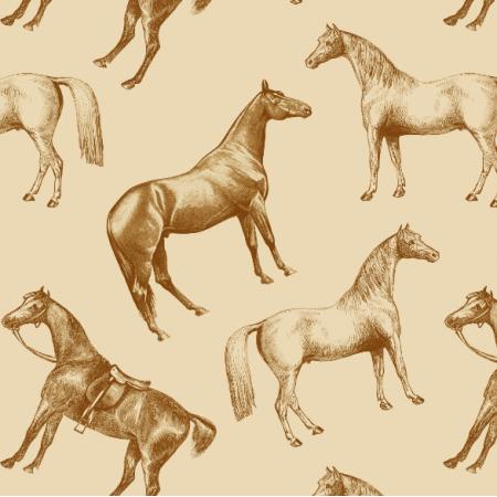 Fabric 22997 | konie i kawa z mlekiem