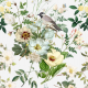 Tkanina 22998   białe kwiaty I ptaszek na białym
