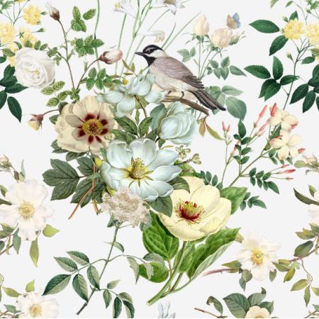 22998 | białe kwiaty I ptaszek na białym