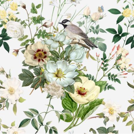 23000 | białe kwiaty z ptaszkiem na białym