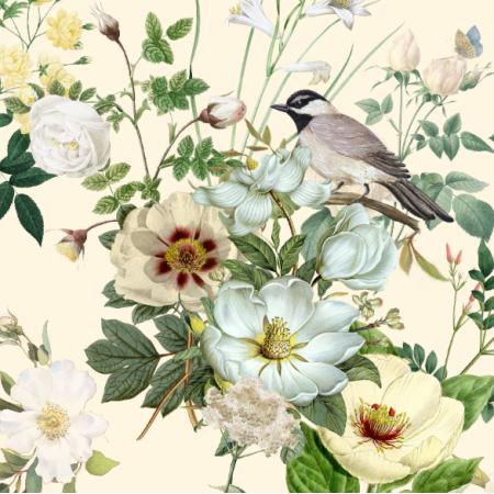 23001 | białe kwiaty z ptaszkim na kremowym tle