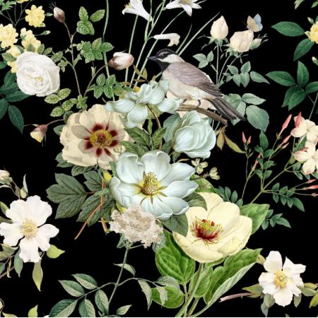 23002 | białe kwiaty z ptaszkiem na czarnym tle