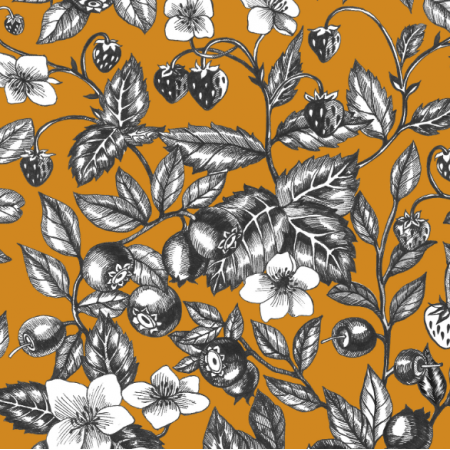 Fabric 23015 | Graphic Berries Mustard