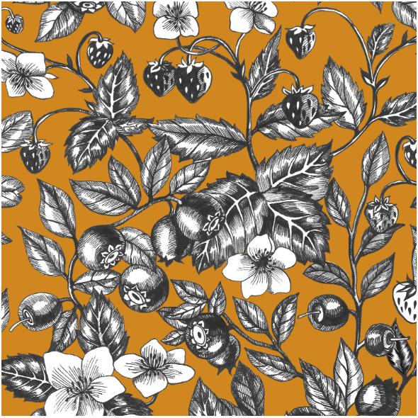 Tkanina 23015 | Graphic Berries Mustard