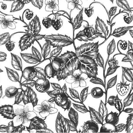 Tkanina 23016 | Graphic Berries White