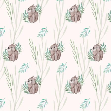 Fabric 23406 | Królik i zielone liście