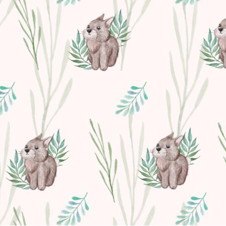 Fabric 23407 | Królik i zielone liście - duży