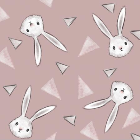 Fabric 23428   trójkąty i króliki - brudny róż - duże