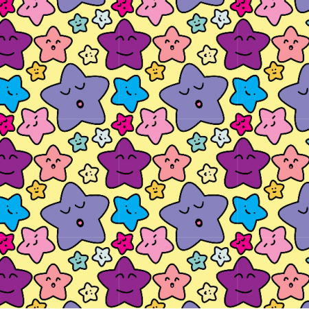 Fabric 23482 | kawaii stars pastel yellow