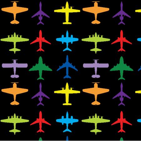 Tkanina 23501 | Samoloty czarne