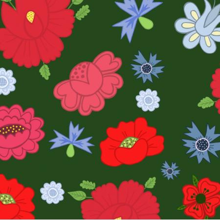 Fabric 23714 | Kwiaty ludowe zielone