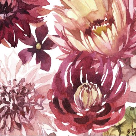Fabric 23889 | Purpurowe kwiaty, biale tlo xl