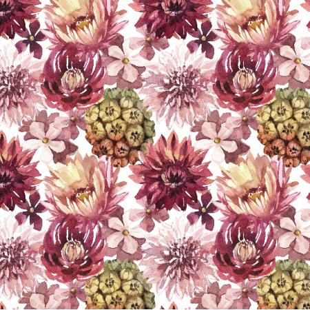 Fabric 23890 | Purpurowe kwiaty, biale tlo small