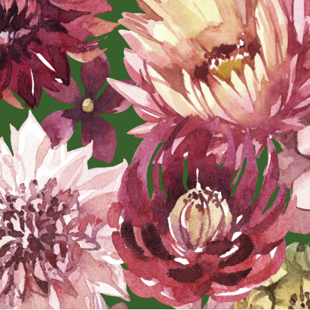 Fabric 23891   Purpurowe kwiaty, zielone tlo xl