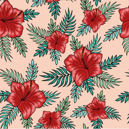 23892 | Tropikalny wzór. Czerwone hibiskusy i tropikalne liście palmy na łososiowym tle