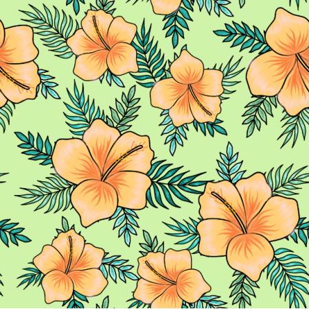 Fabric 23895 | Tropikalny wzór. Pomarańczowe hibiskusy i tropikalne liście na seledynowym tle