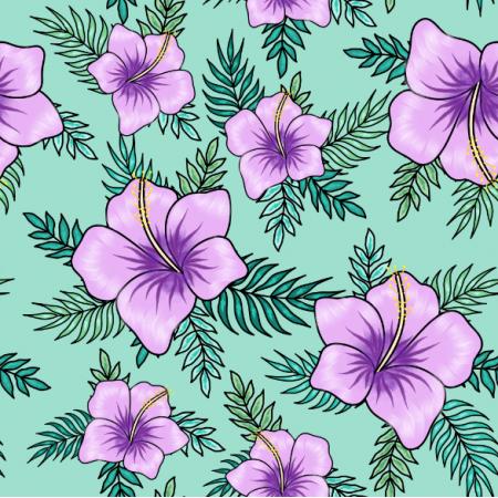 Fabric 23897 | Tropikalny wzór. Fioletowe hibiskusy i tropikalne liście na turkusowym tle