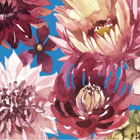Tkanina 23898   Purpurowe kwiaty, niebieskie tlo xl