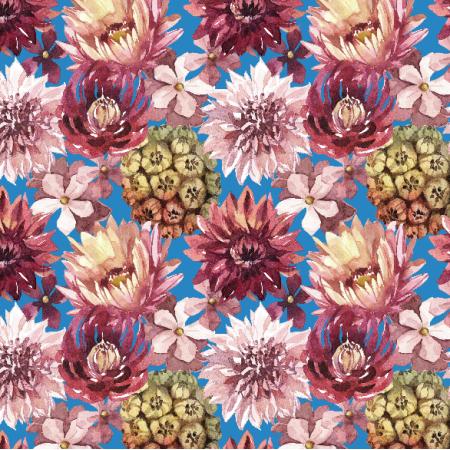 Tkanina 23899 | Purpurowe kwiaty, niebieskie tlo small