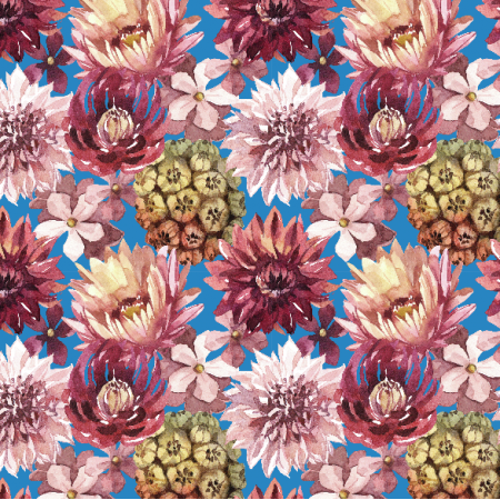 Fabric 23899 | Purpurowe kwiaty, niebieskie tlo small