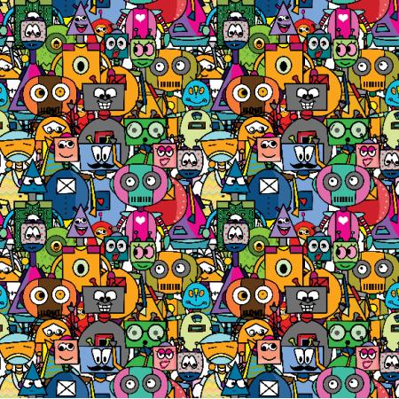 Fabric 23903 | roboty small