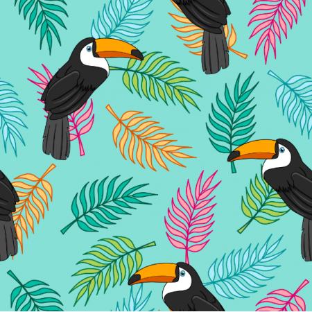 Fabric 23919 | Tropikalny wzór. tukany na kolorowych liściach palmy i niebieskim tle.