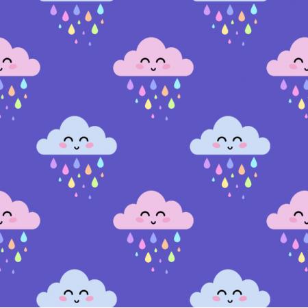 23938 | Różowe i szare uśmiechnięte chmurki z tęczowymi kroplami deszczu na ciemno-fioletowym tle