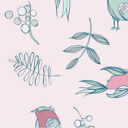 Fabric 2535 | Różowe ptaki