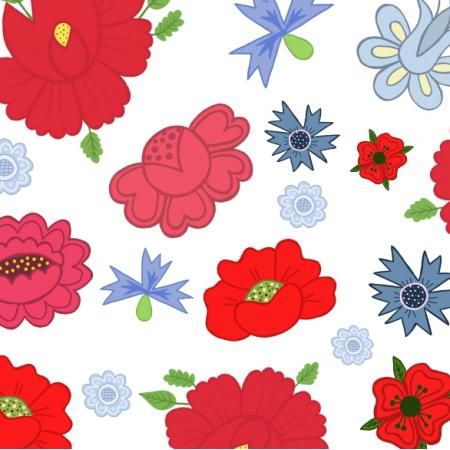 Tkanina 24007 | Kwiaty ludowe białe