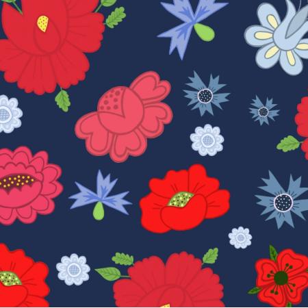 24018 | Kwiaty ludowe granatowe